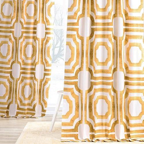 HPD Half Price Drapes PRTW-D23C-120 Printed Cotton Curtain 1 Panel