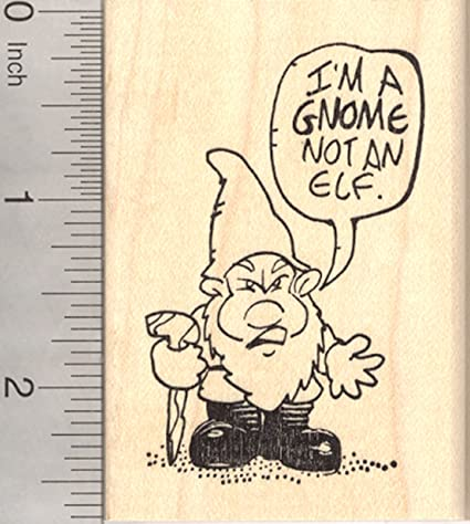 Christmas Gnome Drawing.Amazon Com Christmas Gnome Rubber Stamp I M Not An Elf