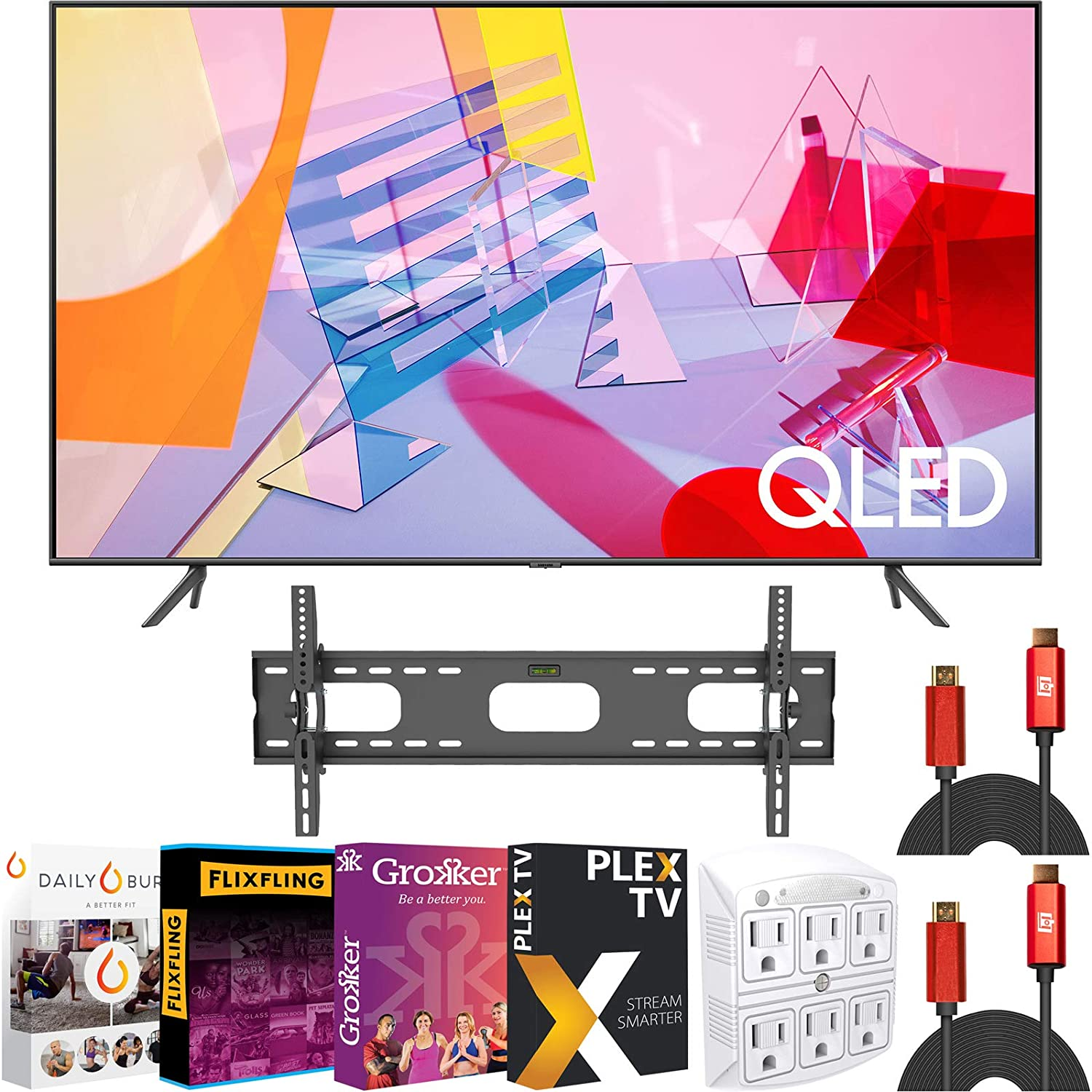 SAMSUNG 55 inch QN55Q60TAFXZA Class Q60T QLED 4K UHD HDR Smart TV (2020) Bundle with Deco Mount Tilting Wall Mount + 2 x Deco Gear HDMI Cables + Stanley SurgePro 6 Outlet Adapter + Streaming Kit