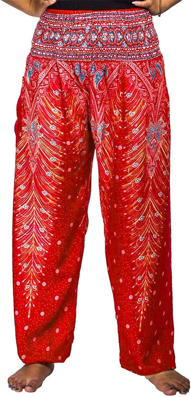 Lofbaz Womens Rayon Print Smocked Waist Boho Harem Pants