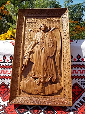 Saint Michael the Archangel Durable Unique christian gift Wood Carved religious wall decor FREE ENGRAVING FREE SHIPPING