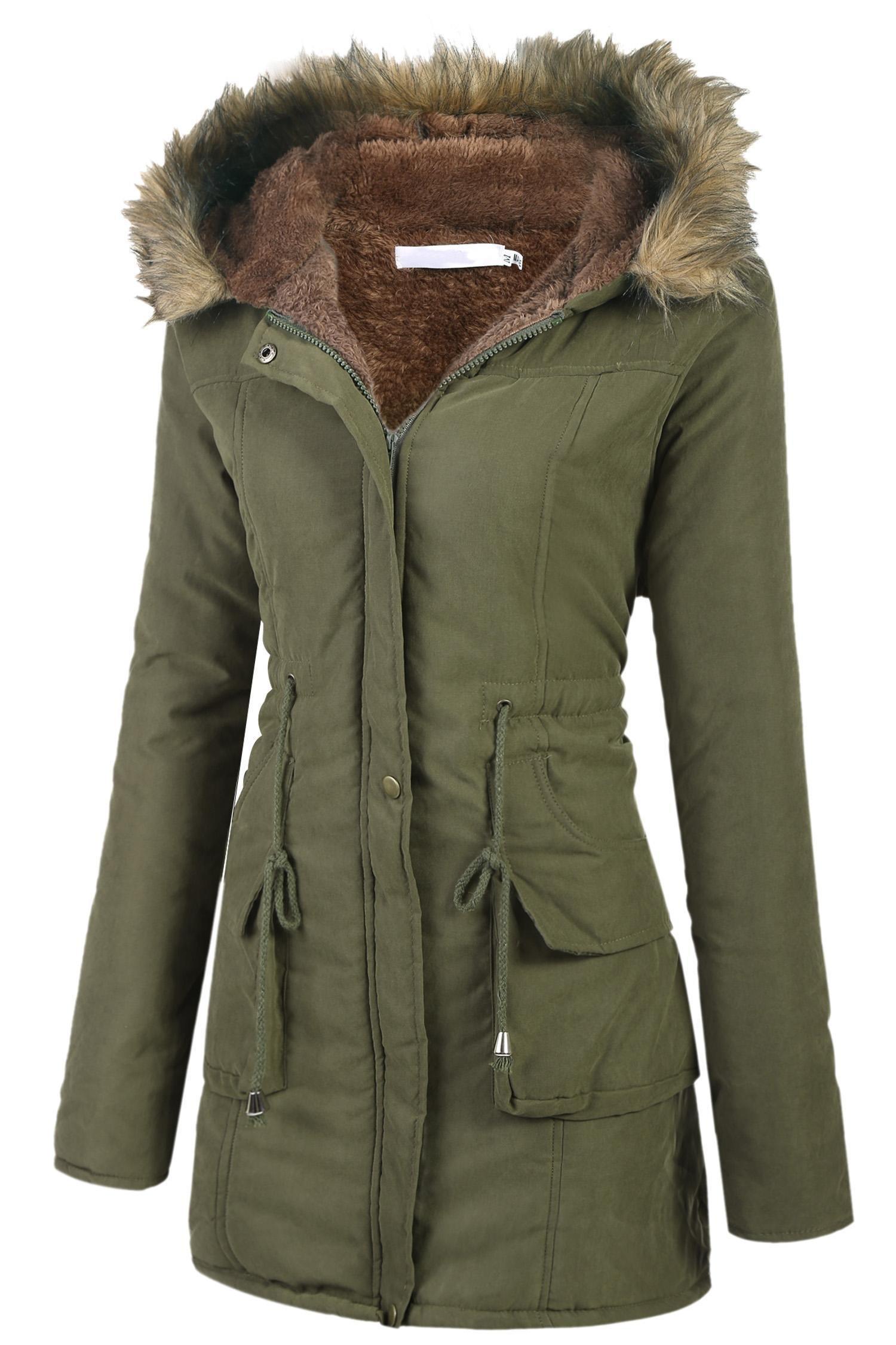 Asatr Women's Winter Jacket Casual Thicken Hooded Fleece Lining Zipper Padded Coat