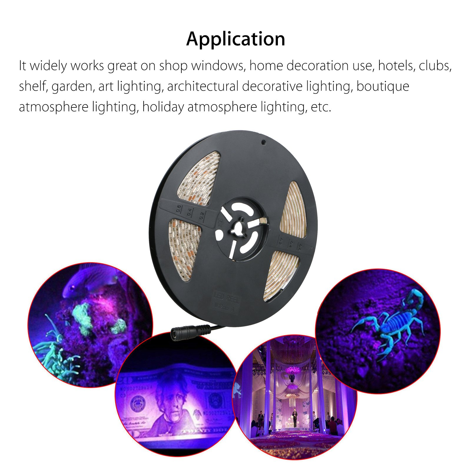 LinkStyle UV Black Lights LED Strip, 16.4Ft 300 LEDs 5050 SMD Ultraviolet Light UV LED Strip Light, Flexible & IP65 Waterproof DC 12V Purple Light Night Fishing(Power Adapter Not Included) by LinkStyle (Image #8)