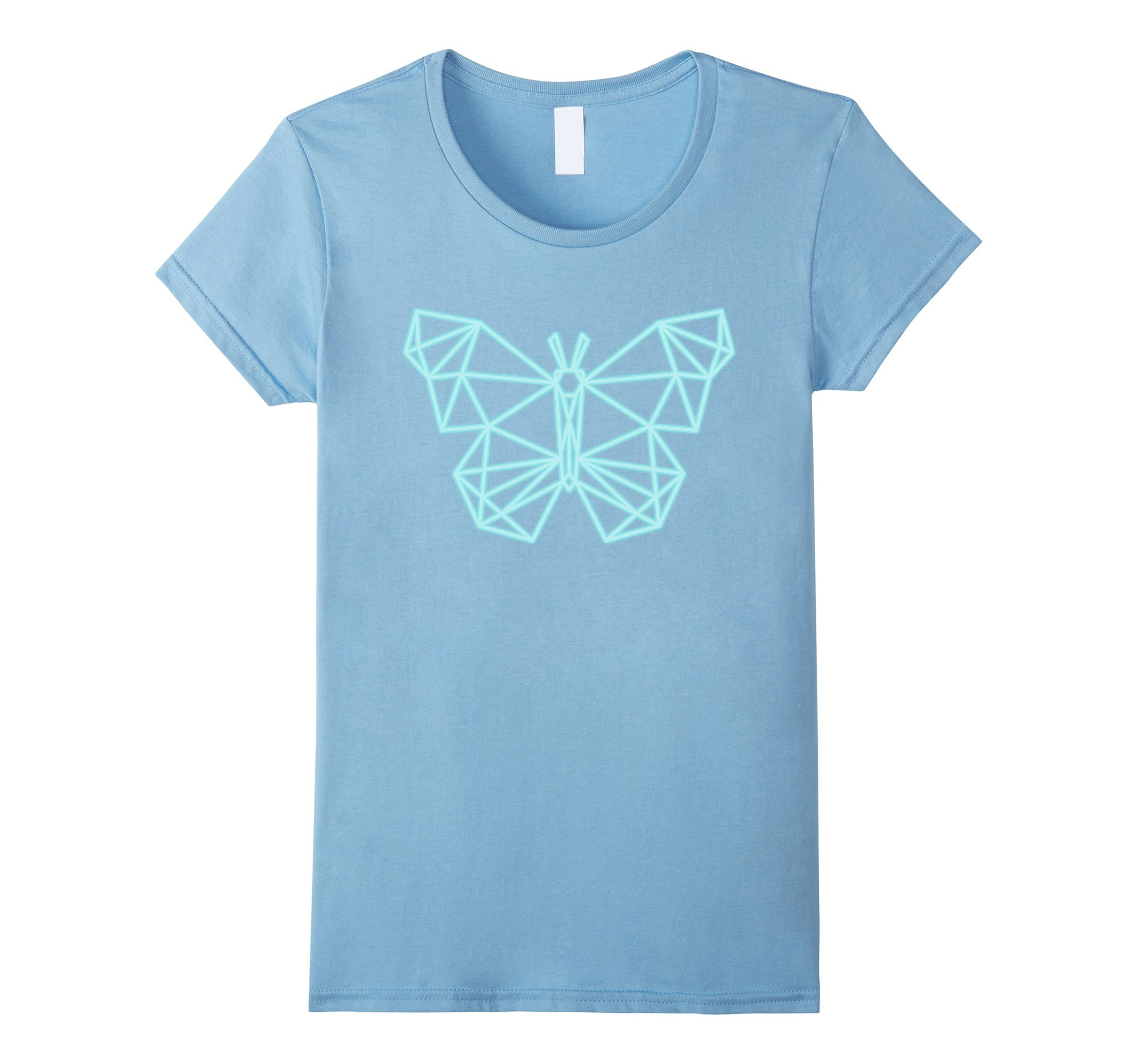 Womens 80s Retro Neon Sign Butterfly Geometric T-Shirt. 80's Gift Small Baby Blue