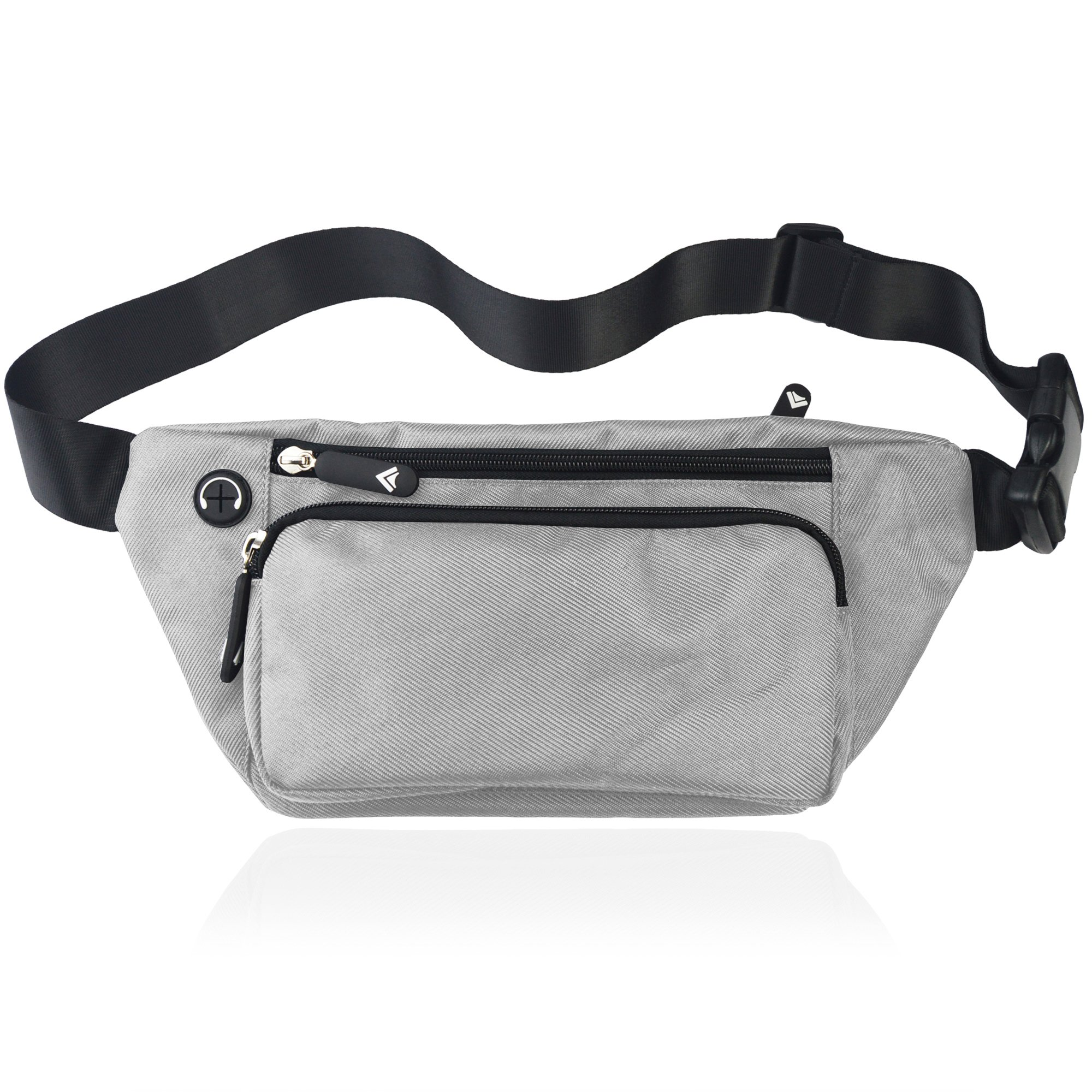 TIFRY Silver Fanny Pack Men Women Waist Pack Bag Quick Release Buckle Water Resistant