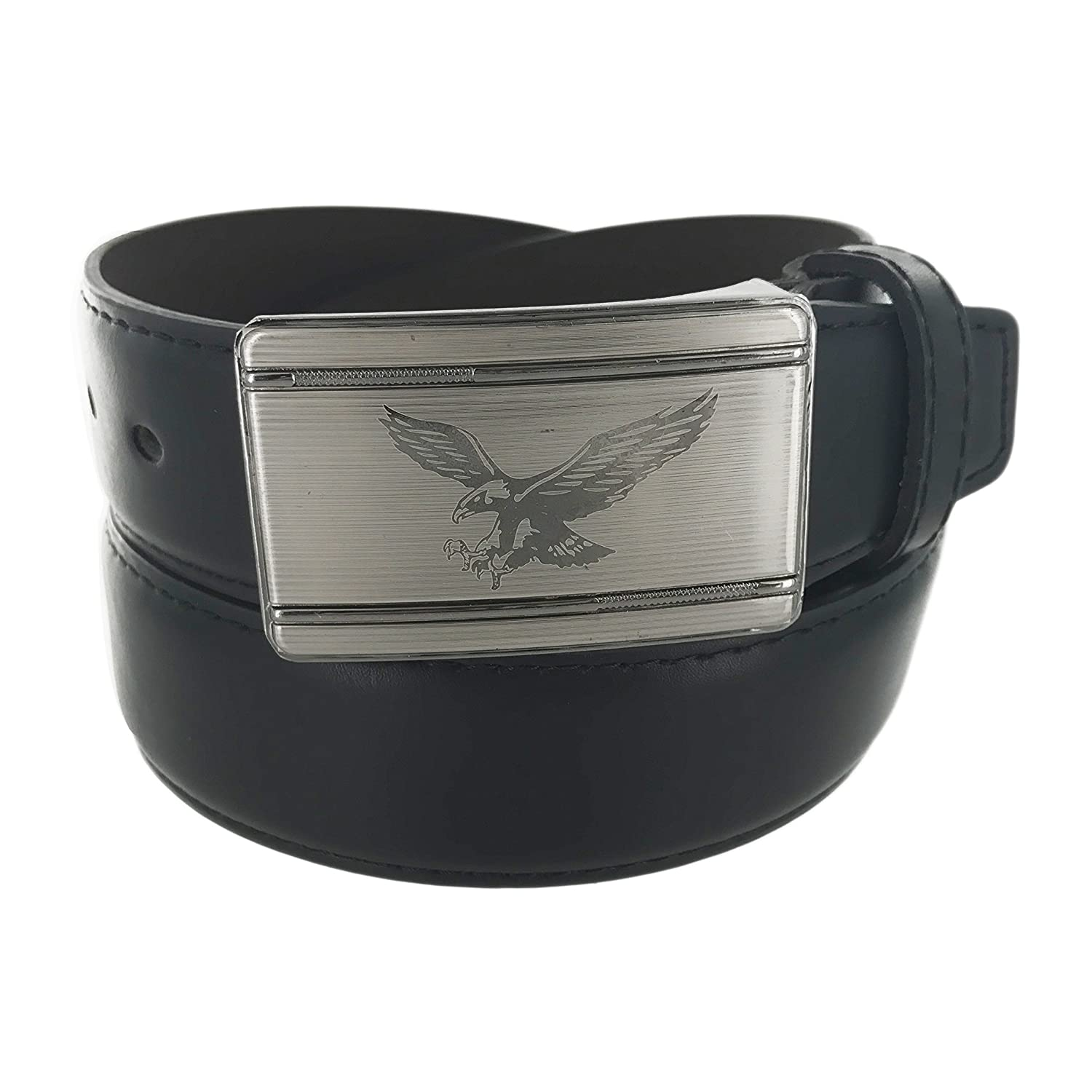 Faddism Mens Genuine Leather Belt Eagle on Silver Plate