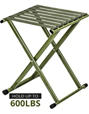 TRIPLE TREE Portable Folding Stool, Super Strong Heavy Duty Outdoor Folding Chair Hold up to 650 lbs, Unfold Size 13.9(L) x14.3(W) x17.8(H) Inch Large Size