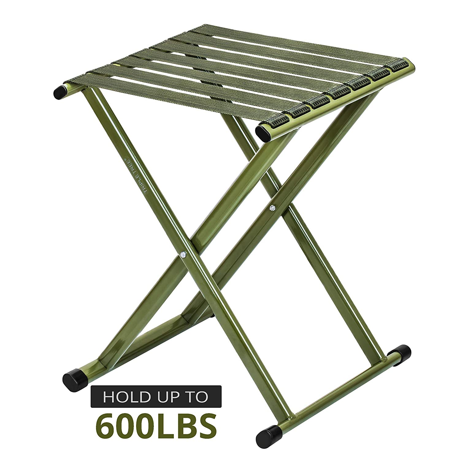 Folding Stool 17.8 Height, Super Strong Heavy Duty Outdoor Portable Folding Chair Hold up to 650 lbs, Unfold Size 13.9 L x14.3 W x17.8 H Inch Pack of One Large