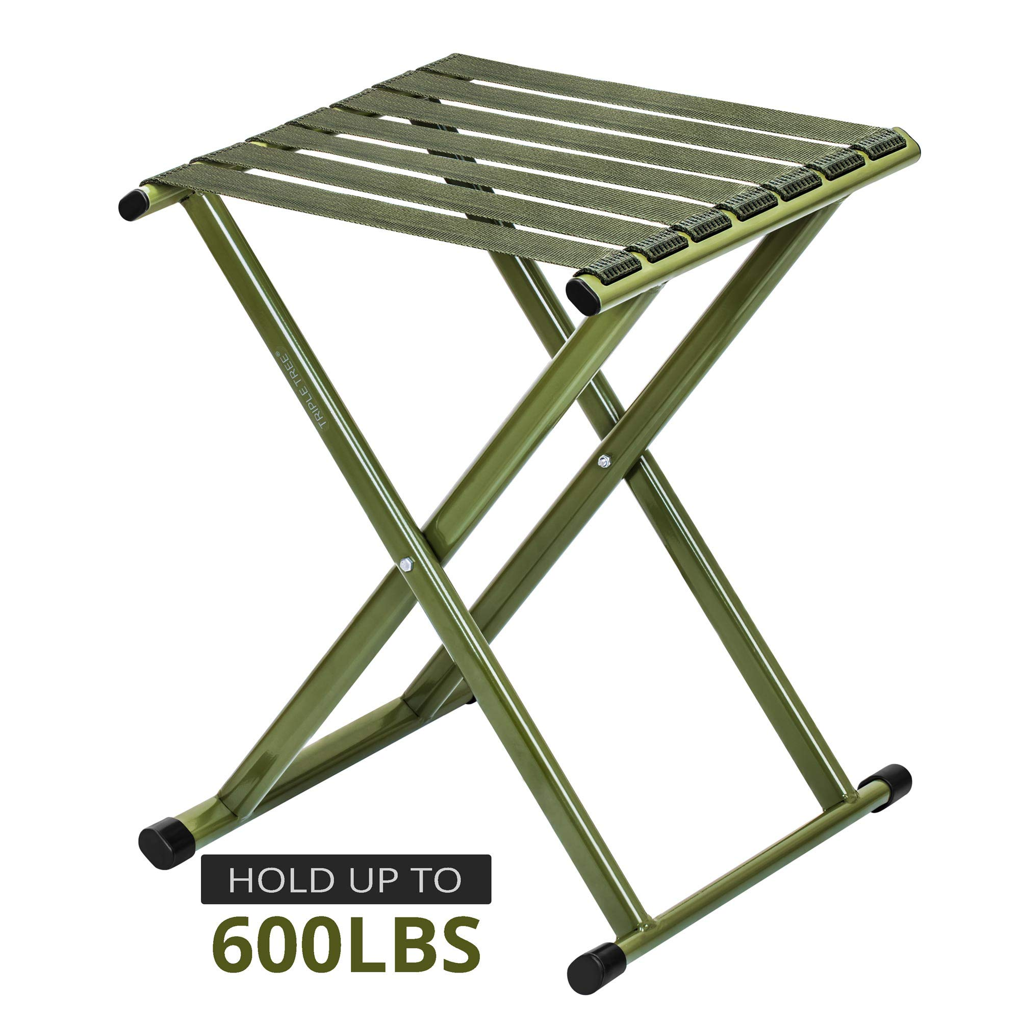 Folding Stool 17.8 Height, Super Strong Heavy Duty Outdoor Portable Folding Chair Hold up to 650 lbs, Unfold Size 13.9(L) x14.3(W) x17.8(H) Inch Pack of One (Large) by TRIPLE TREE