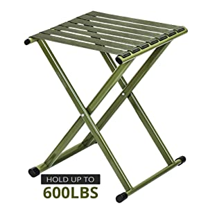 TRIPLE TREE Folding Stool 17.8 Height Two Packs, Super Strong Heavy Duty Outdoor Portable Folding Chair Hold up to 650 lbs, Unfold Size 13.9(L) x14.3(W) x17.8(H) Inch (Large)