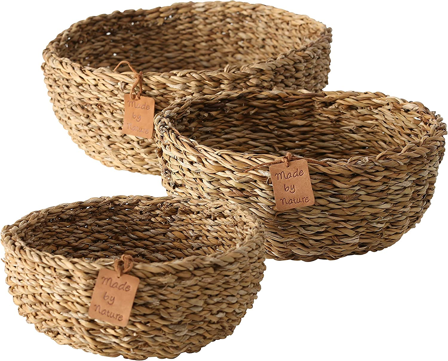 Made by Nature Beach House Bowls, Set of 3, 8, 10 and 12 Inches in Diameter (20, 25, 30 cm) Woven Sea Grass