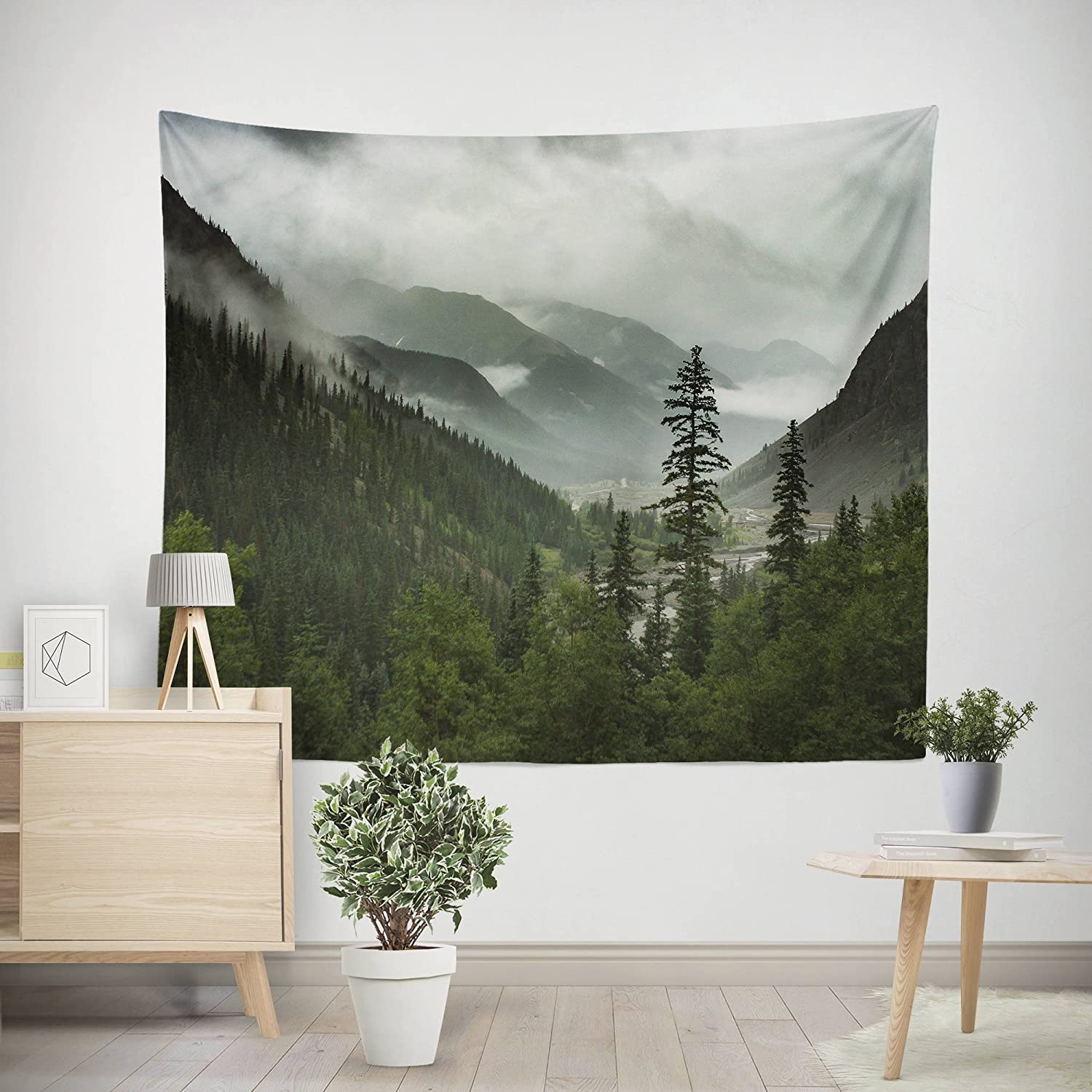 Mountains Wall Tapestry, Mountain Range, Rocky Mountain Decor, Mountain Landscape, Foggy Forest, Trees, Pine Forest Tapestry, Wilderness, Wanderlust