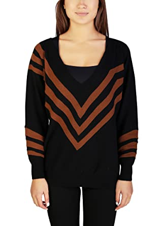 5a7cdb5355c7 Prada Women's Wool Cashmere Striped V-Neck Sweater Black: Prada ...