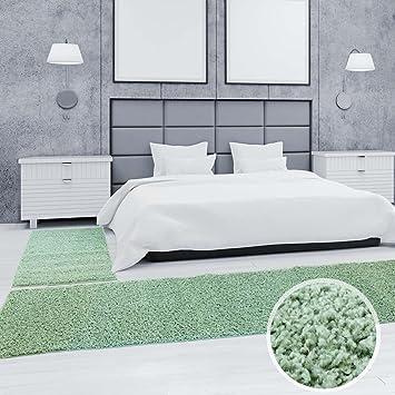 carpet city Shaggy Bettumrandung Hochflor-Teppiche in Pastell-Grün ...