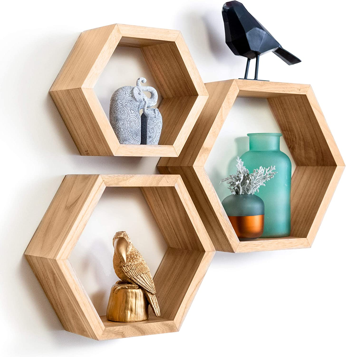 Hexagon Floating Shelves - Set of 3 - Beautiful Honeycomb Plant Wall Shelf. Geometric Hexagon Shelves. Includes All Hanging Hardware. Boho Shelves. Honeycomb Shelves