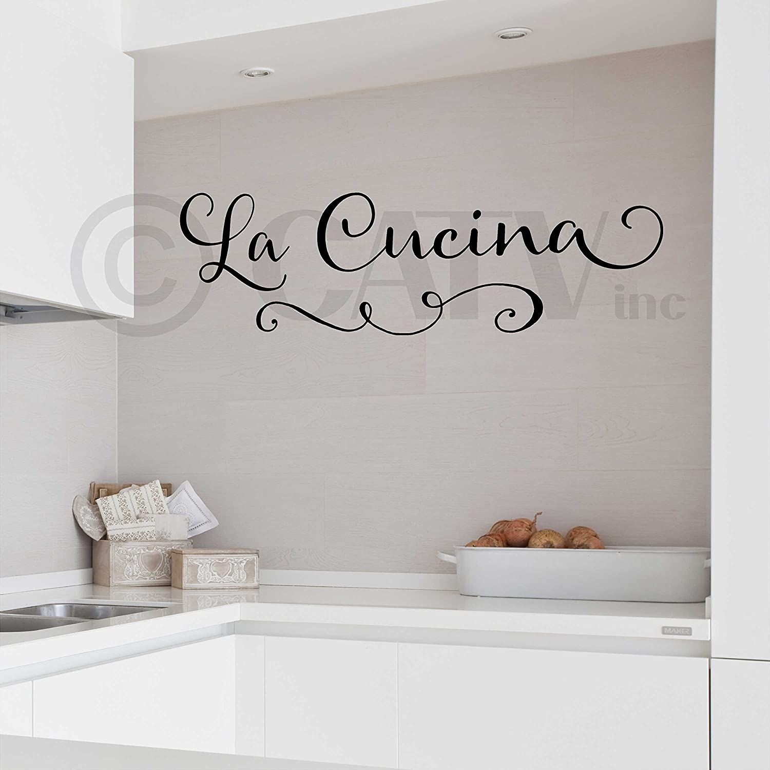 delicate la cucina (the kitchen) wall saying vinyl lettering ... - Sticker Cucina