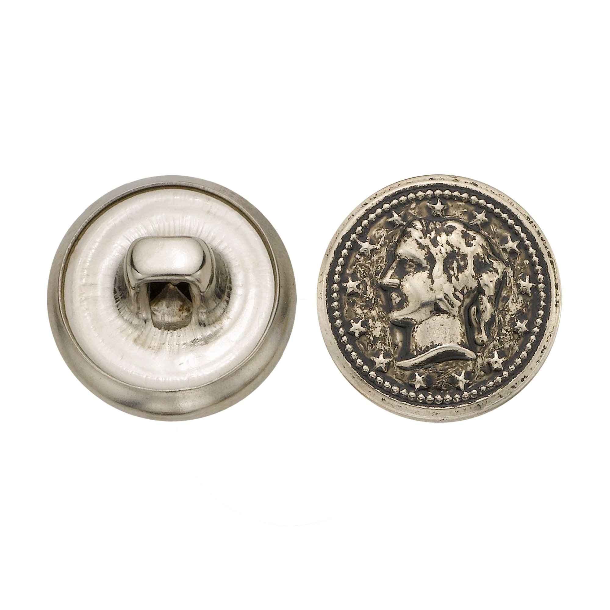 C&C Metal Products 5328 Lady Head Coin Metal Button, Size 24 Ligne, Antique Nickel, 72-Pack