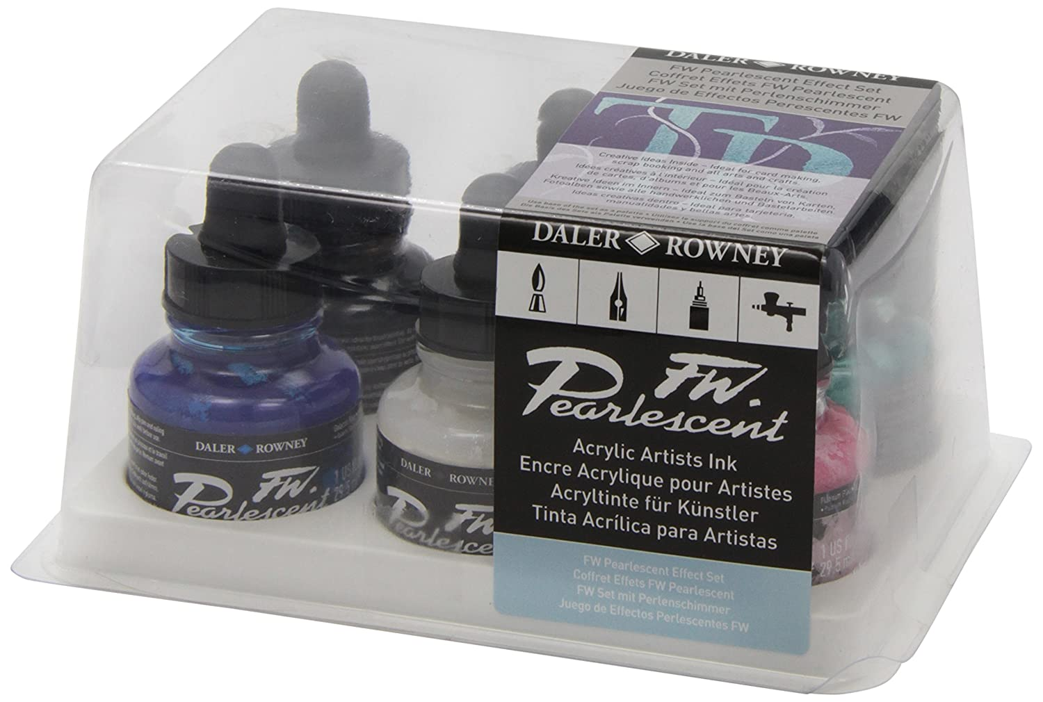 Daler - Rowney FW 29.5ml Ink Bottle - Pearlescent Effect (Set of 6) Daler-Rowney DR603200006