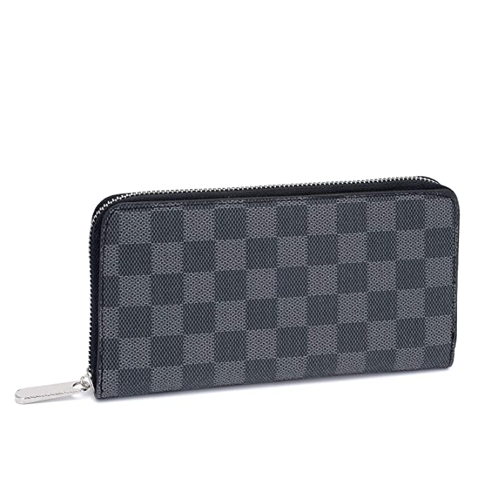 d4b5ddfbe39b Women s Checkered Zip Around Long Wallet and Phone Clutch - RFID Blocking  with Card Holder(