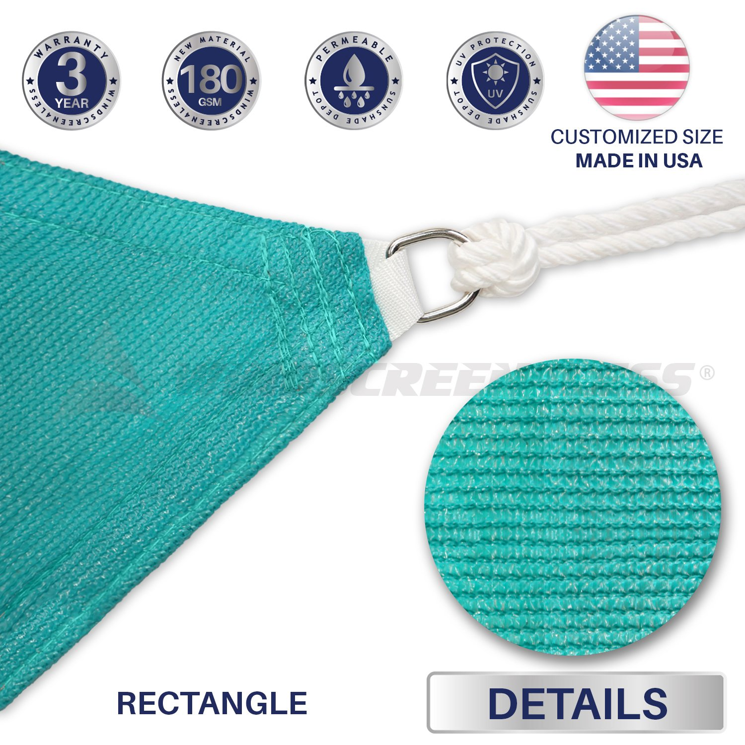 Windscreen4less 8 x 12 Sun Shade Sail UV Block Fabric Canopy in Turquoise Rectangle for Patio Garden Customized 3 Year Limited Warranty