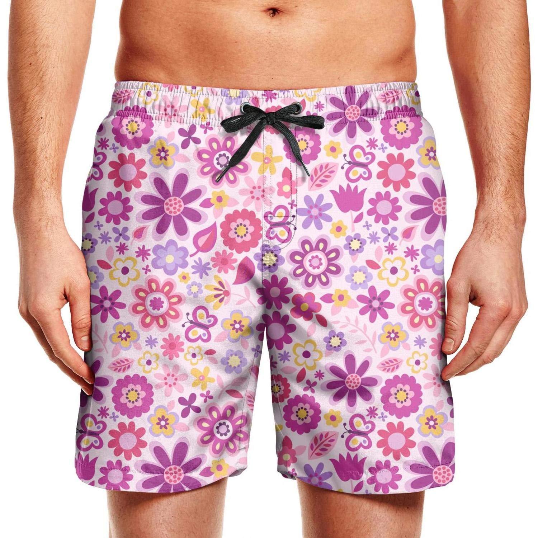 KIENENG Stripe Daisy Decorations Man Board Shorts Swim Wear Elastic