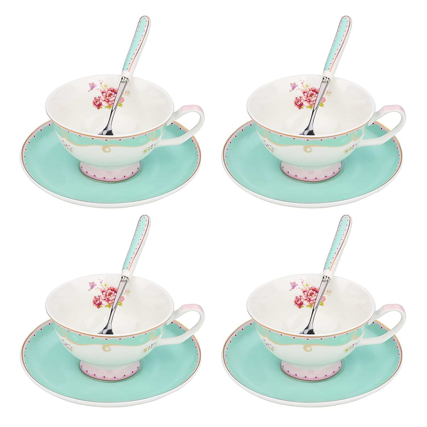 ARTVIGOR Tea Set New Bone China 6.8 Ounce / 200 Milliliter Espresso Coffee Cups with Matching Saucers, 37x10.5x35.5cm, Light Green Coffee and Tea Cup Set