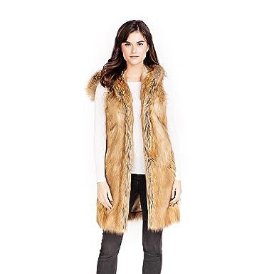5fe0186ed Donna Salyers' Fabulous-Furs Gold Fox Hooded Faux Fur Knee-Length Vest (