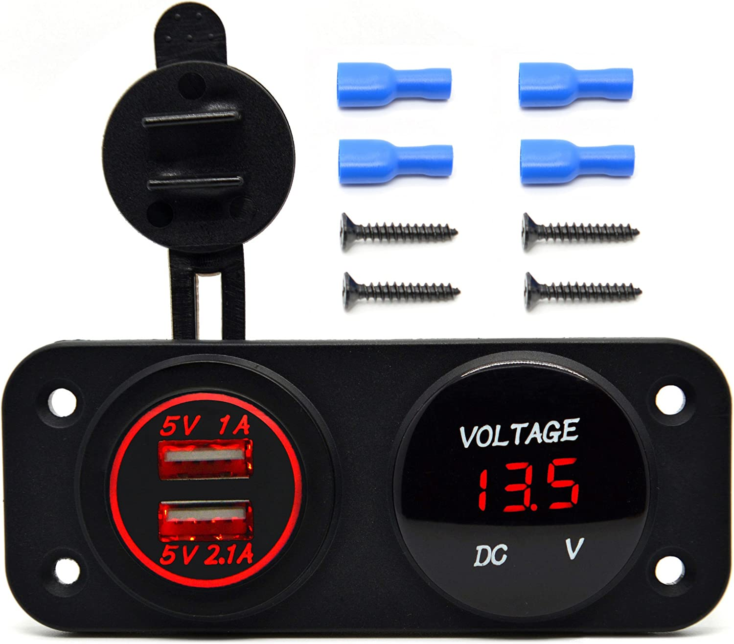 ON-OFF Toggle Switch Four Functions Panel for Car Boat Marine RV Truck Camper Vehicles GPS Mobiles Green Cllena Dual USB Socket Charger 2.1A/&2.1A 12V Power Outlet LED Voltmeter