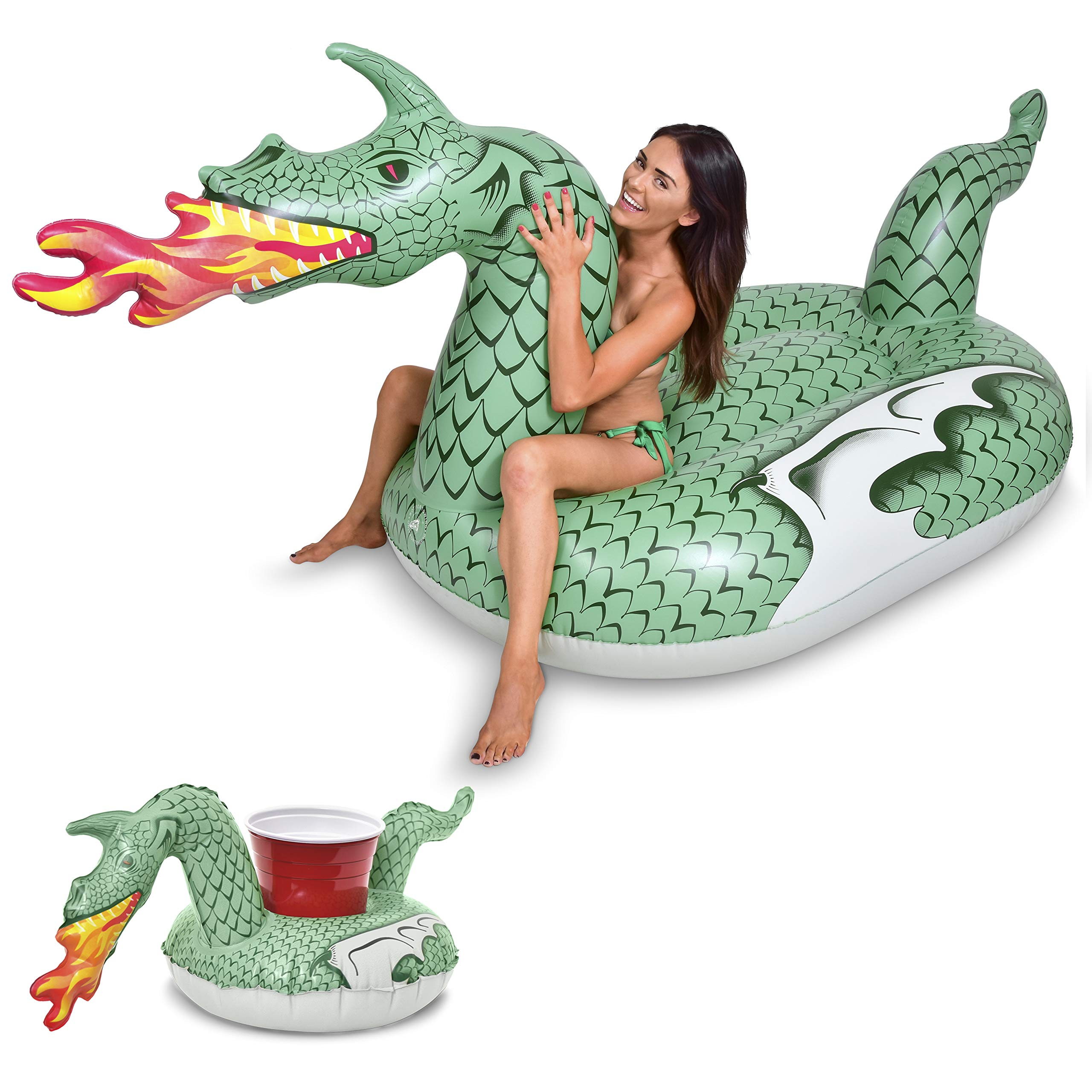 GoFloats Giant Inflatable Fire Dragon | Includes Bonus Fire Dragon Drink Float | New for 2018 by GoFloats (Image #1)