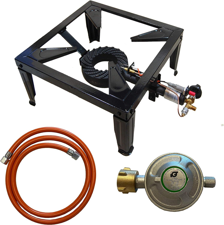 10,5 kW Hornillo de gas Taburete eléctrica 4 Soporte Cocina camping Grabadora con manguera + Regulador con encendido y seguridad piezoencendido ...