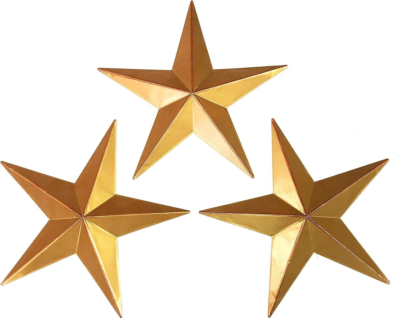 Bellaa 23561 Western Star Metal Wall Decor Texas Barn Set 3 Gold 12 inch (Golden 23561, Medium)