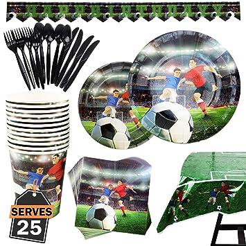 Kompanion Set de 177 Piezas de Fiesta Diseño de Fútbol, Incluye Pancarta, Platos,Vasos, Cubiertos, Servilletas,Mantel, Cucharas, Tenedores y ...