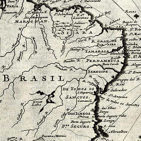 Amazon.com: Brazil South America La Plata Amazon river 1709 Moll old ...