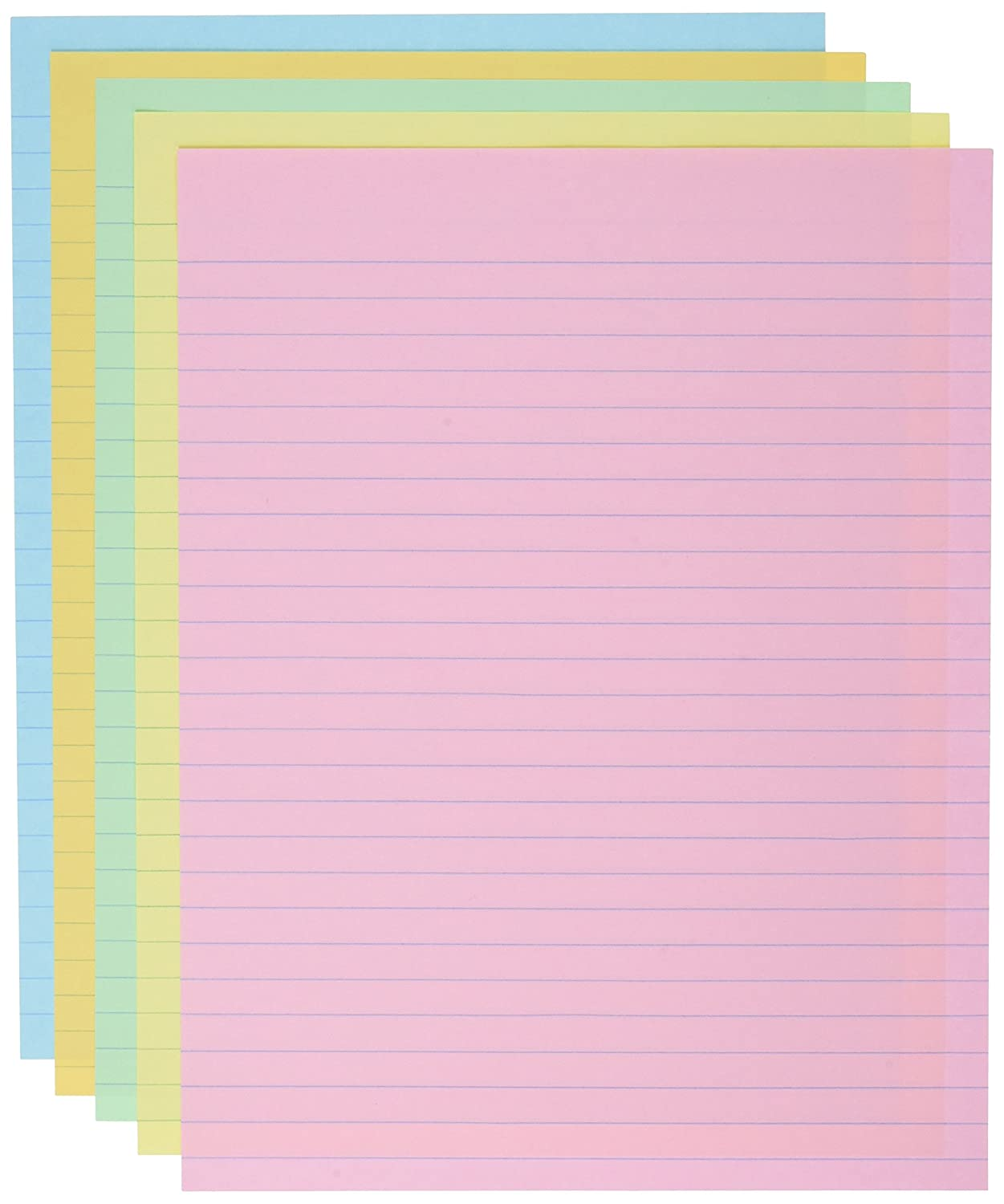 School Smart Ruled Exhibit Paper, 8-1/2 x 11 Inches, Assorted Colors, 500 Sheets School Specialty 085454