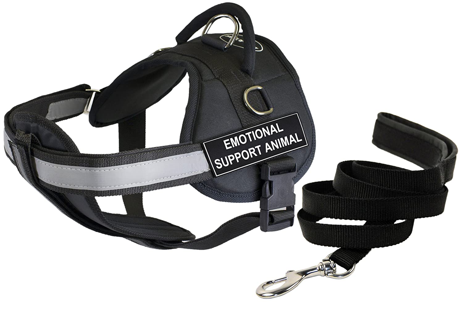Dean and Tyler Bundle DT Works Harness w Padded Chest, Emotional Support Animal, XSmall (21 -26 ) + Padded Puppy Leash, 6 FT Stainless Snap Black