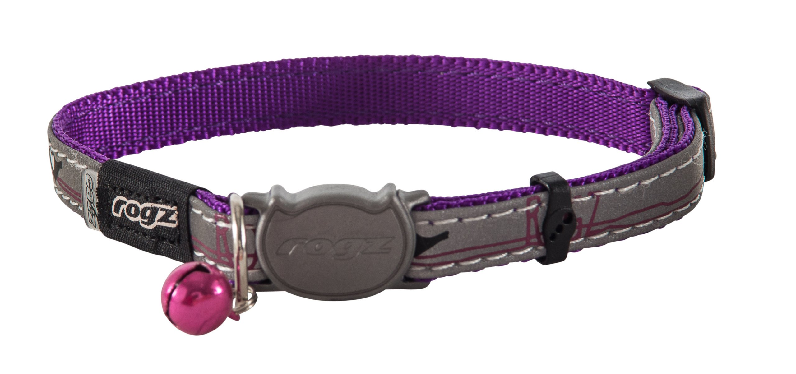 ROGZ Reflective Cat Collar with Breakaway Clip and Removable Bell, Fully Adjustable to fit Most Breeds, Purple Bird Design