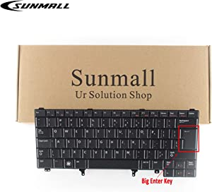 Sunmall Replacement Keyboard with Backlit/Big Enter Key Compatible with Dell Latitude E5420 E5430 E6220 E6320 E6330 E6420 E6430 E6440 Series US Layout Black (Without Pointer Stick)