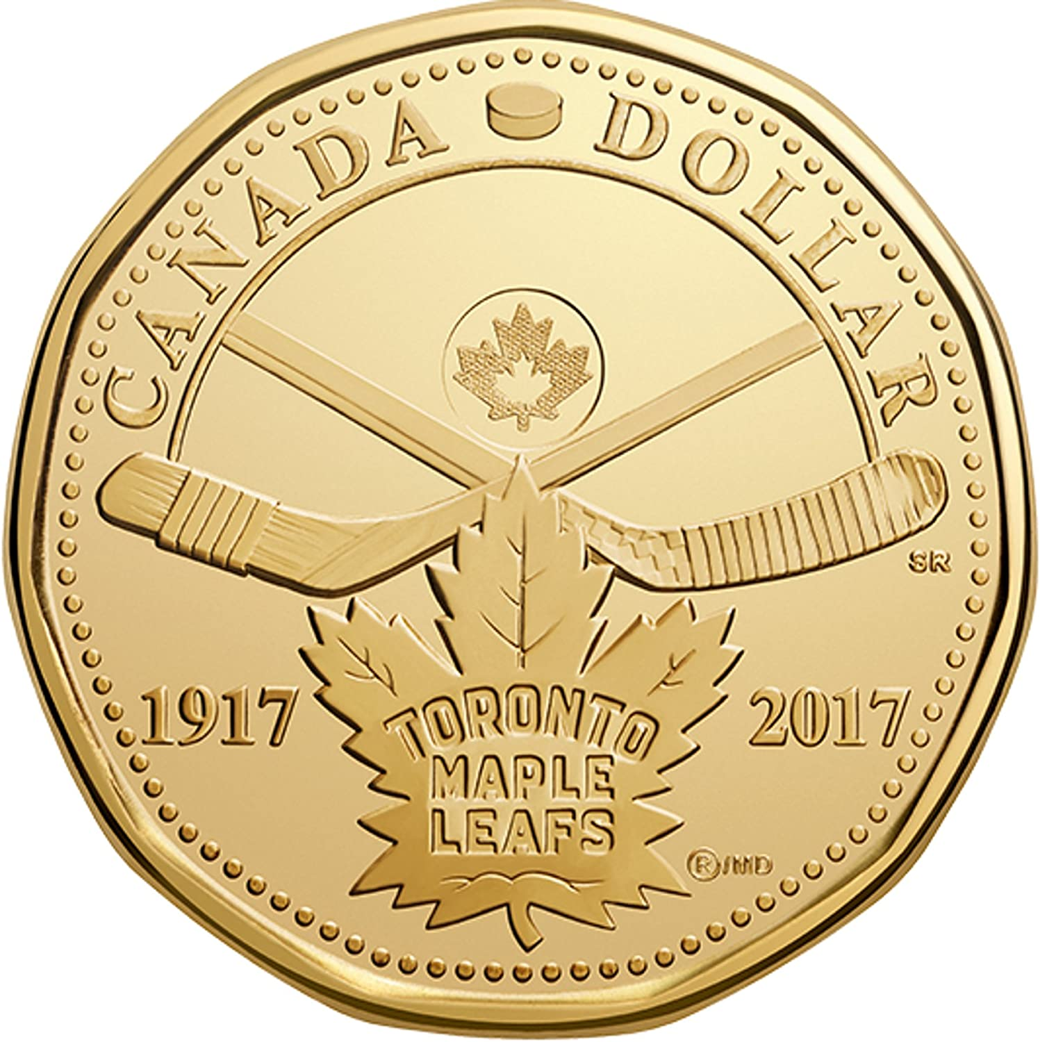 """CANADA 1$ Dollar 2017 /""""100th anniversary of the Toronto Maple Leafs/"""" in MS"""