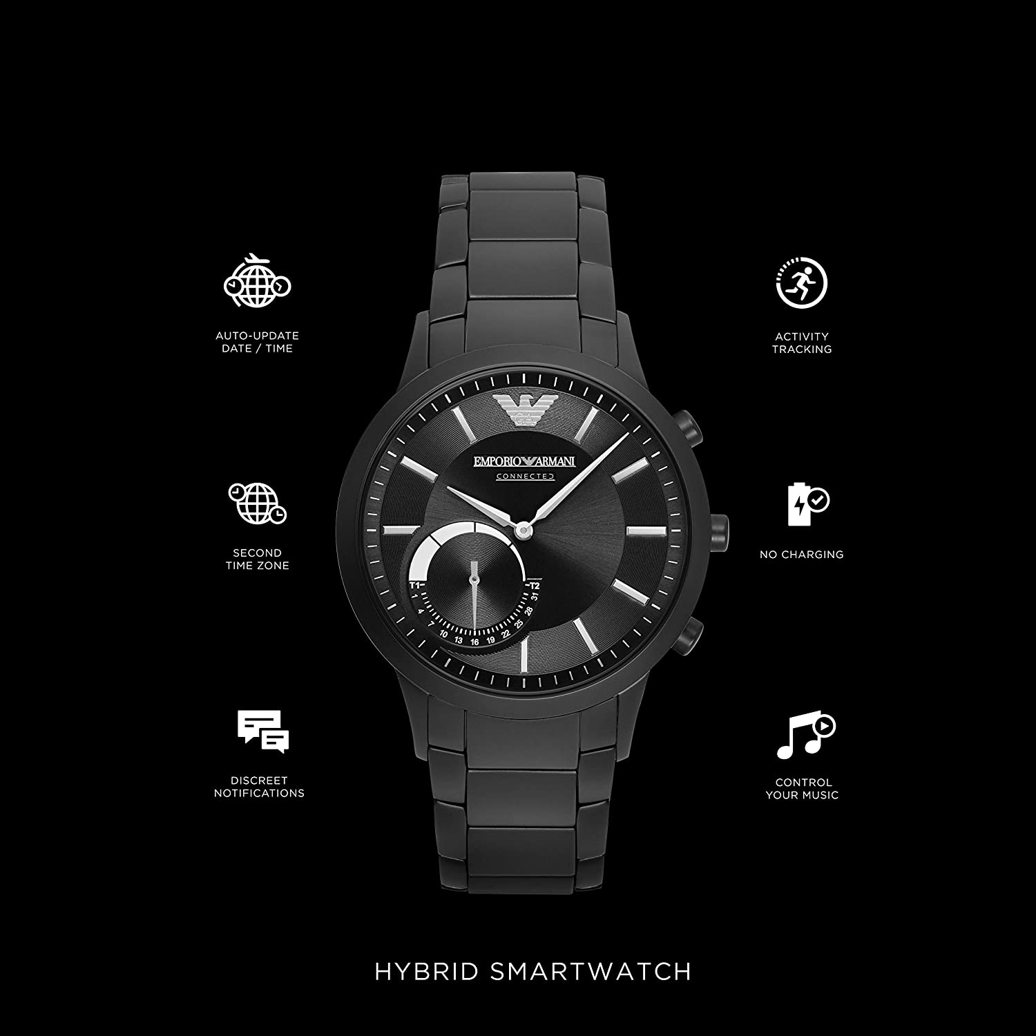 Amazon.com: Emporio Armani Connected Hybrid Smartwatch Mens ...