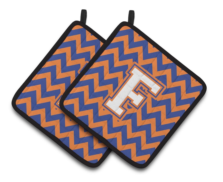 Carolines Treasures Letter F Chevron Blue /& Orange #3 Pair of Pot Holders CJ1060-FPTHD 7.5HX7.5W Multicolor