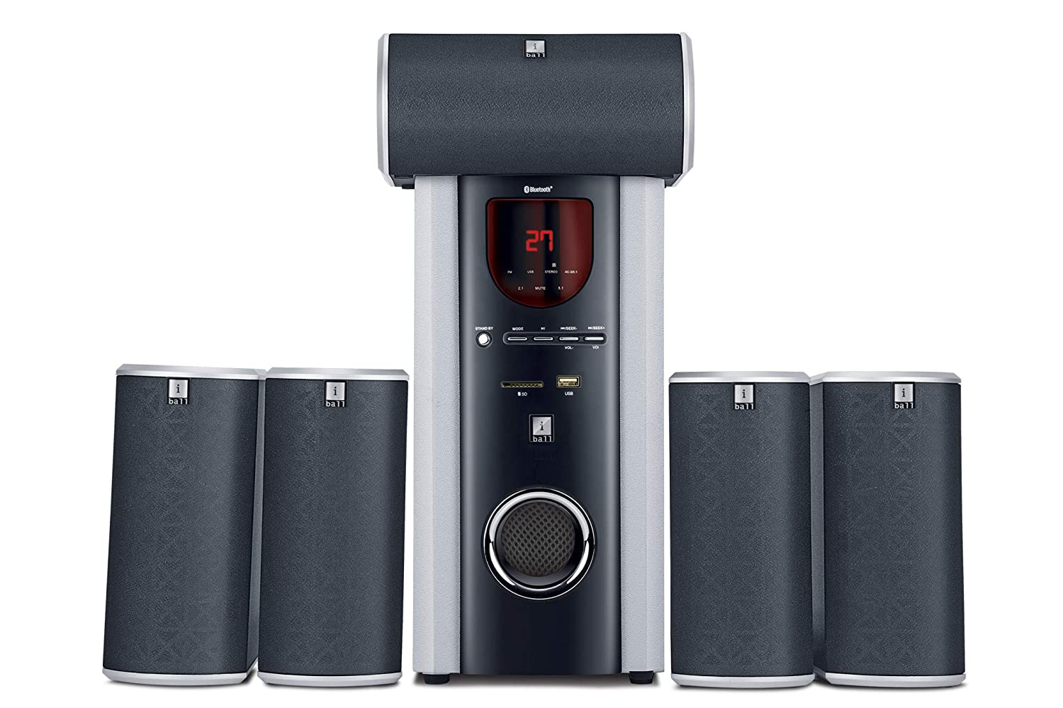 iBall Booster BTH - 5.1 Channel Multimedia Bluetooth Speakers, Black