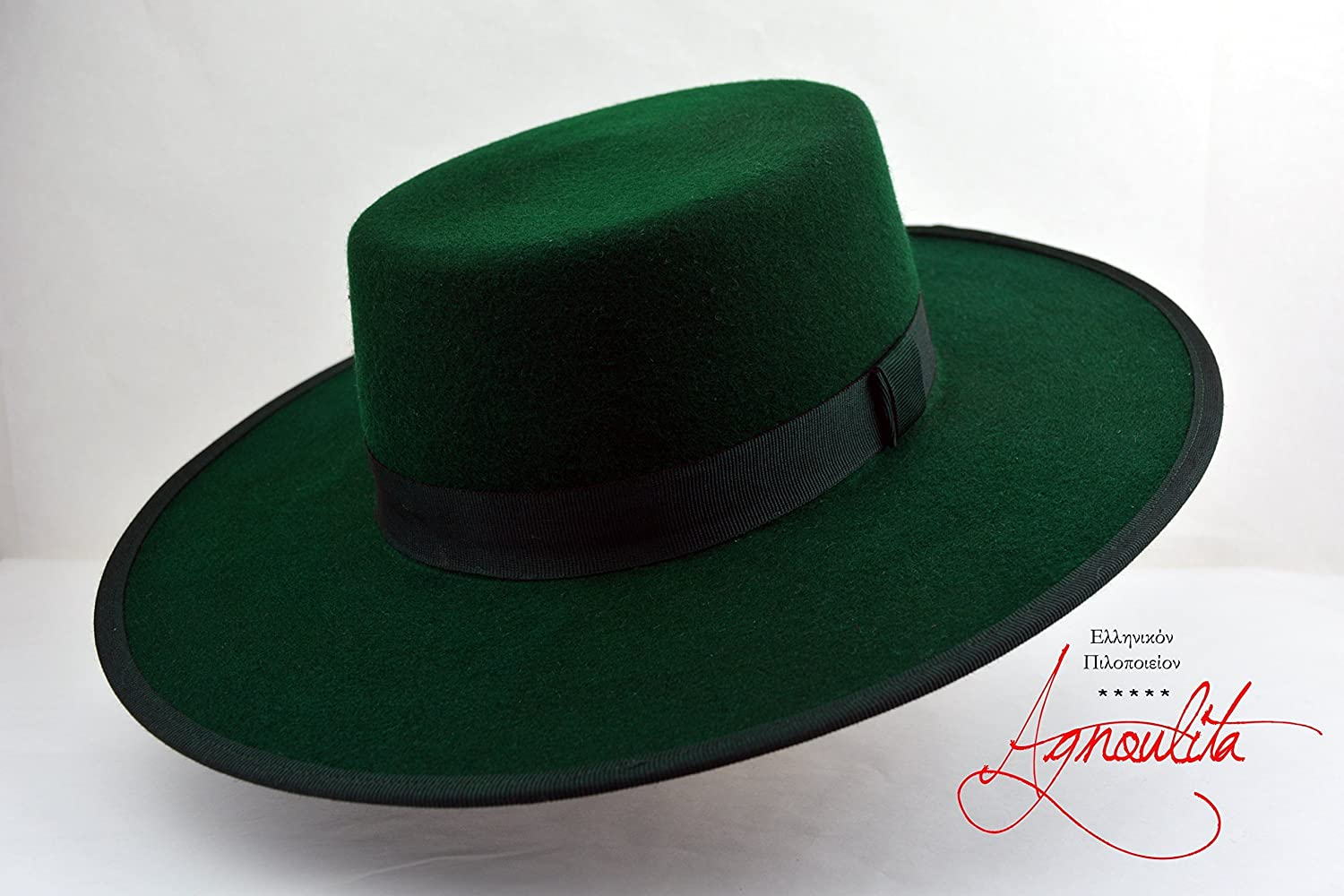 The Emerald - Emerald Green Wool Felt Flat Crown Bolero Hat - Wide Brim - Men Women