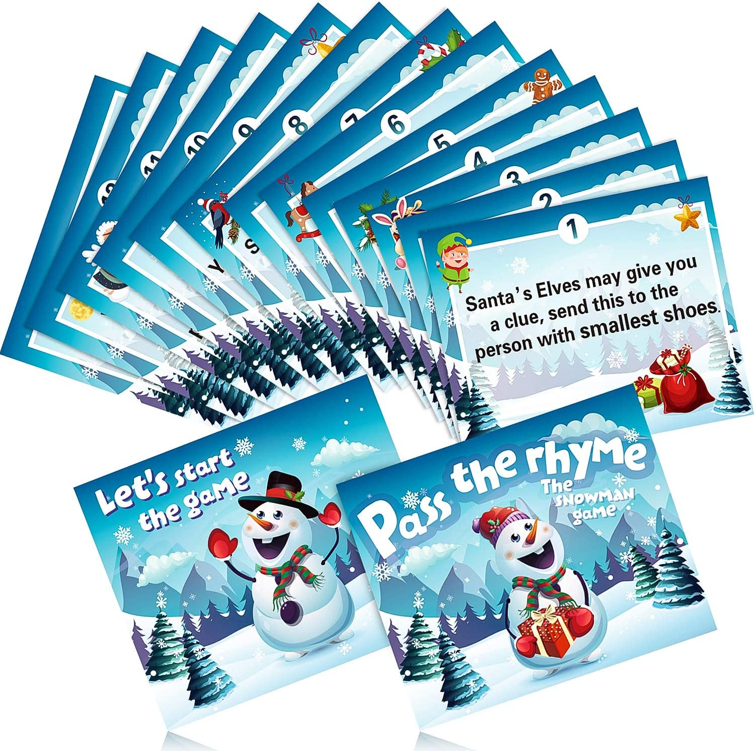 Blulu Christmas Pass The Parcel Game 18 Rhyme Cards Christmas Games for Families Children Christmas Party Favor Xmas