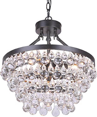 Ivana 5-Light Luxury Crystal Chandelier in Antique Black