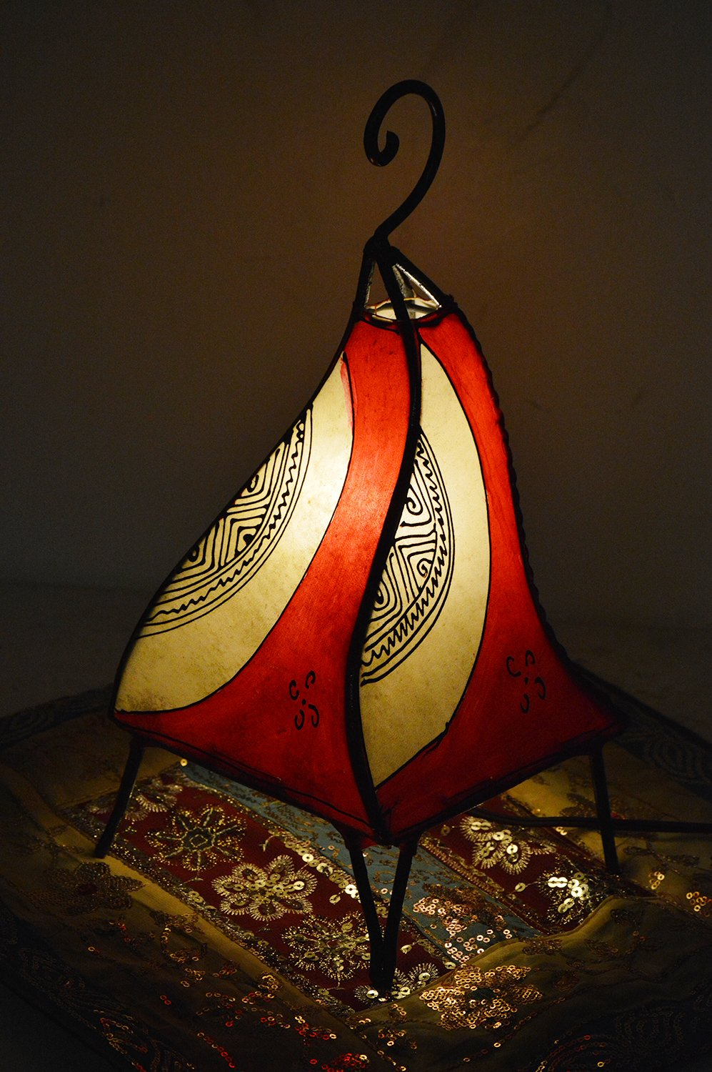 Henna Lamps & Sconces Moroccan Hand made Leather lamp henna tattoo African Red Beige