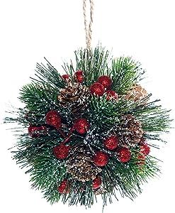 2pcs Pack Christmas Ball Frosted Cedar Berries Mistletoe Ball Ornament,5 Inch Christmas Decor Ball Artificial Door Decor Xmax Ornament (Pine Cone / Pine Needle)