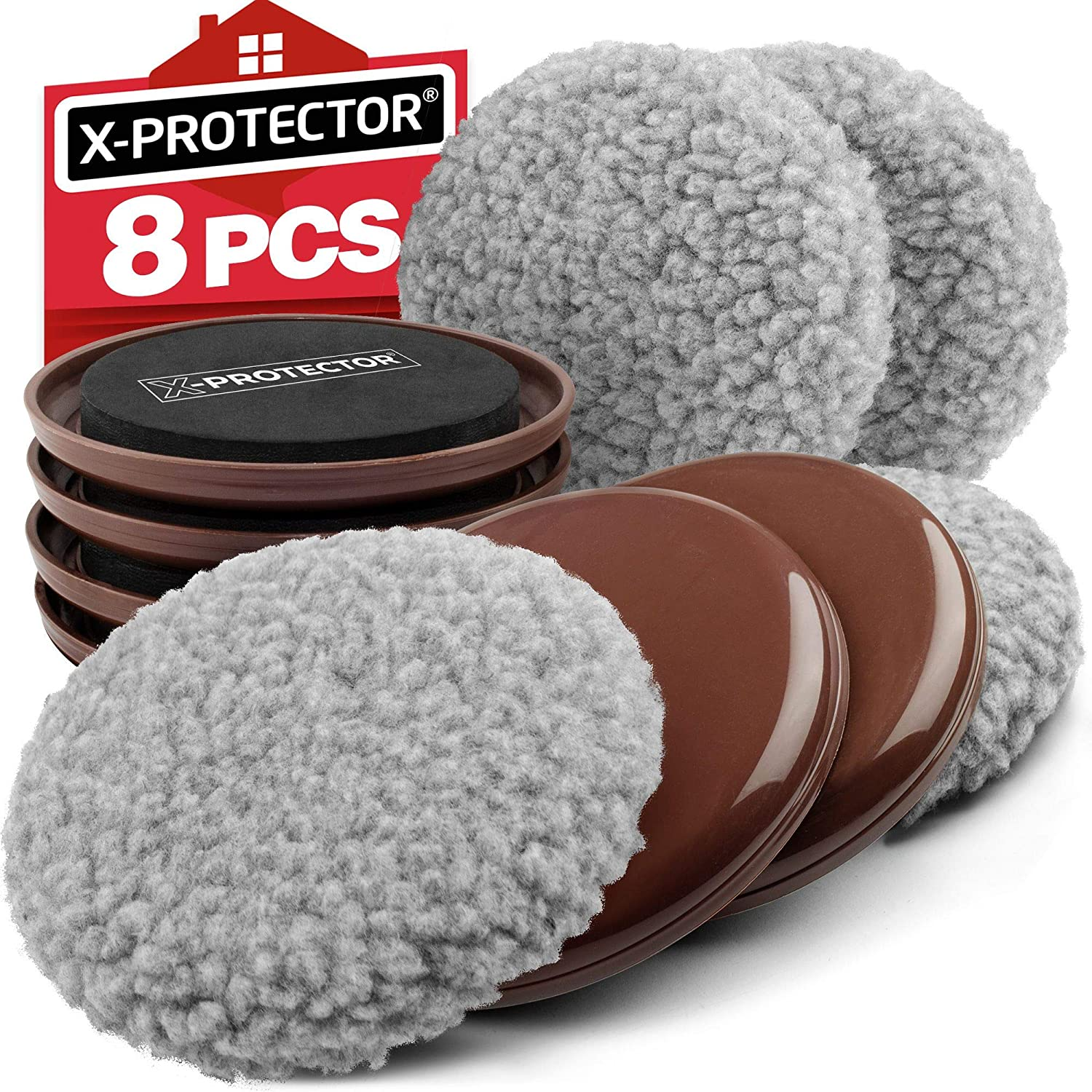 "Furniture Sliders X-PROTECTOR - Multi-Surface Sliders for Carpet - Furniture Movers Hardwood Floors - Best 4-Pack 5"" Heavy Moving Pads and 4 Hardwood Socks - Move Your Furniture Easy ON Any Surface!"