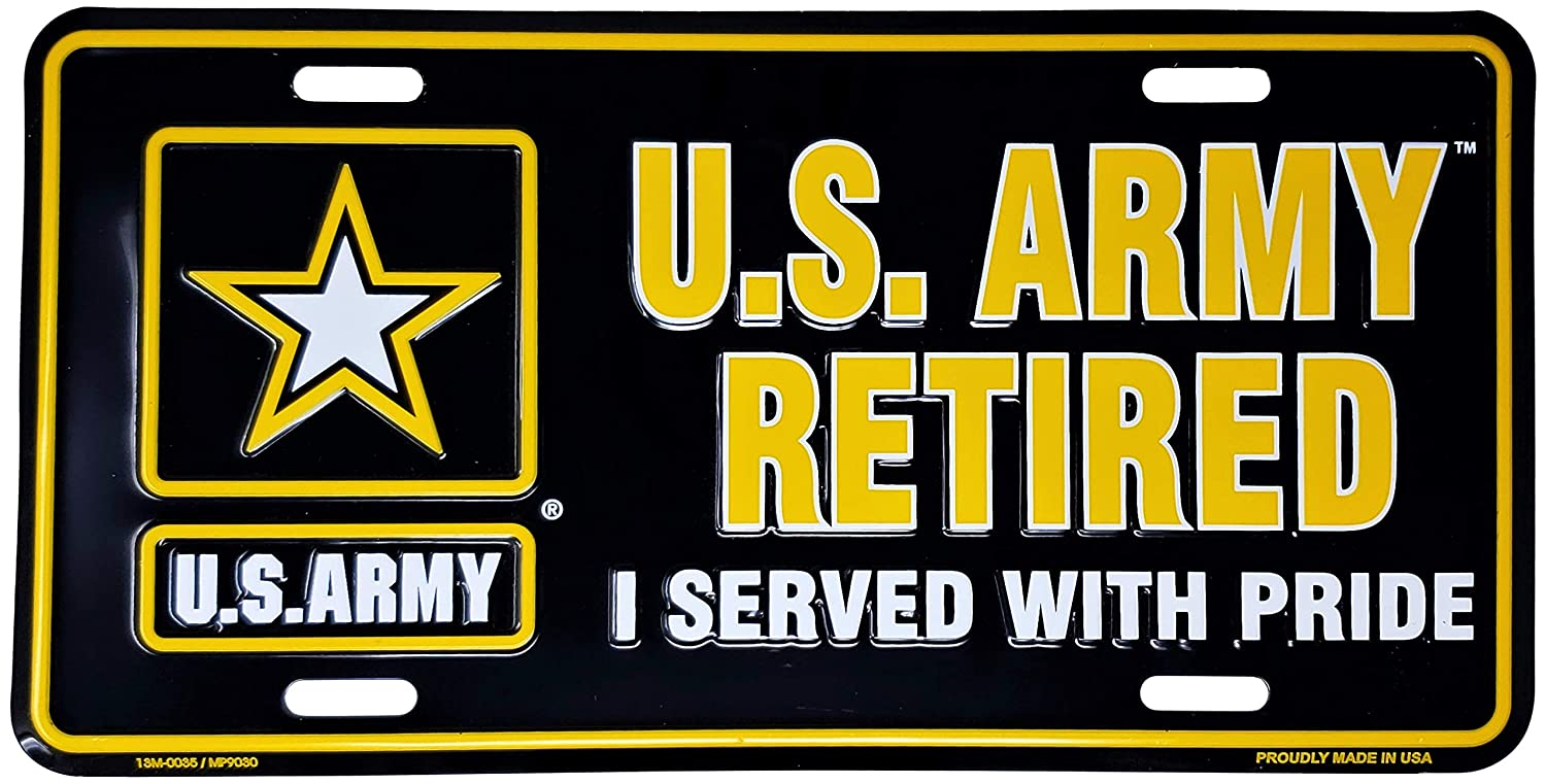 Ramsons Imports United States Army Retired 12 X 6 License Plate Made in USA