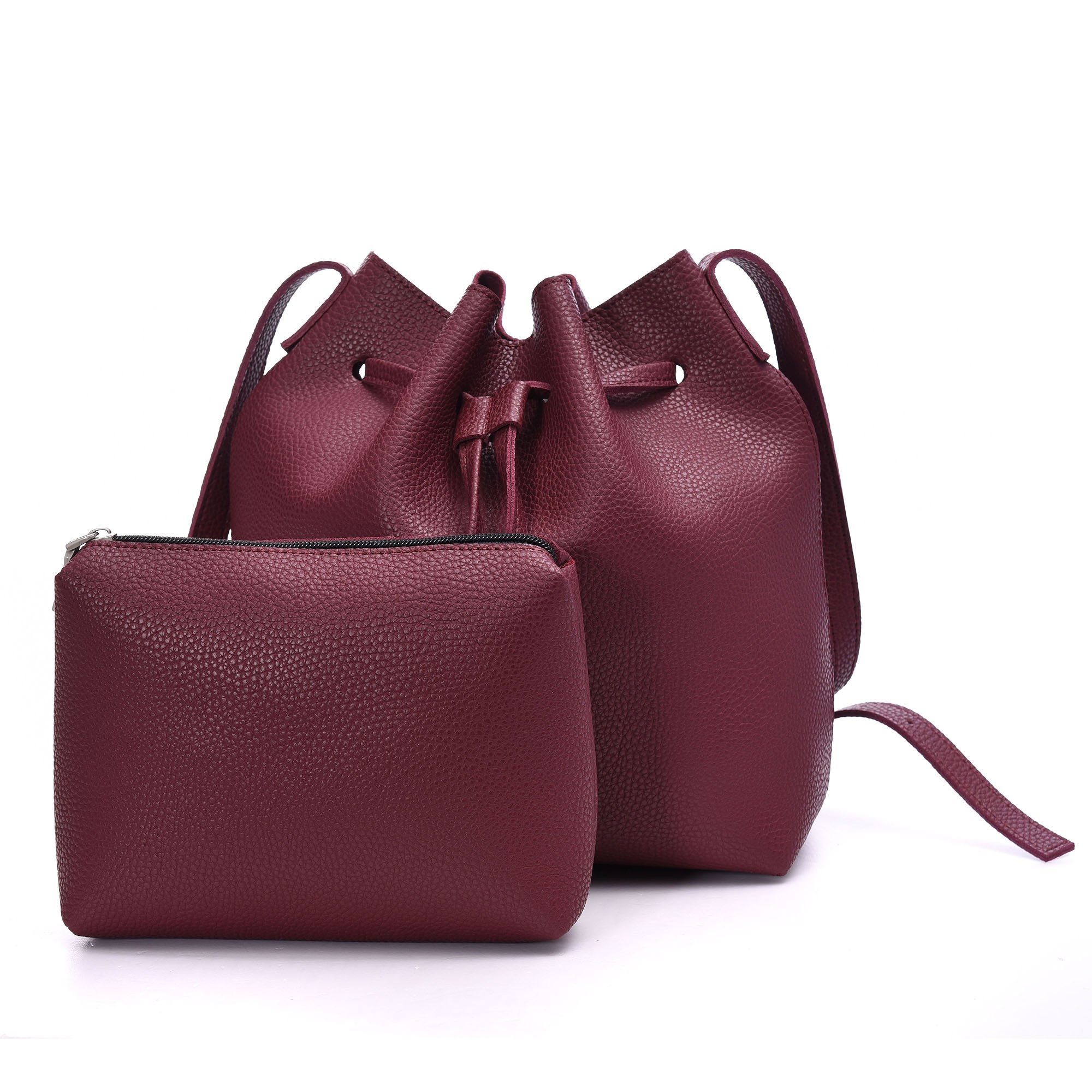 Drawstring Bucket Bags 2 Pieces Set, Artmis Women Small Cross-body Purses PU Leather (Wine red)