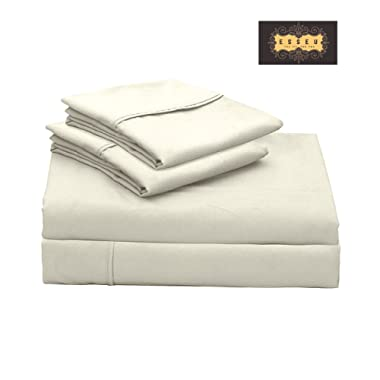 ESSEU 300 Thread Count 100% Cotton Sheet Set, Soft Sateen Weave,King Sheets, Deep Pockets,Home & Hotel Collection,Luxury Bedding-Bestseller- Super Sale 100% Cotton,Ivory by